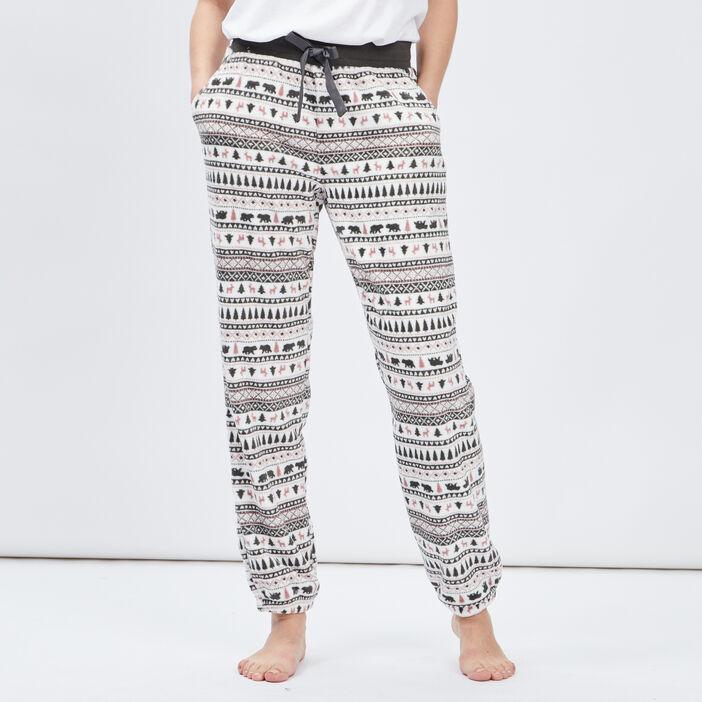 Pantalon de pyjama polaire coordonnable femme gris