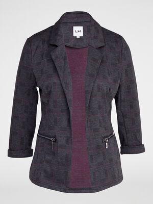 Veste a poches zippees gris fonce femme