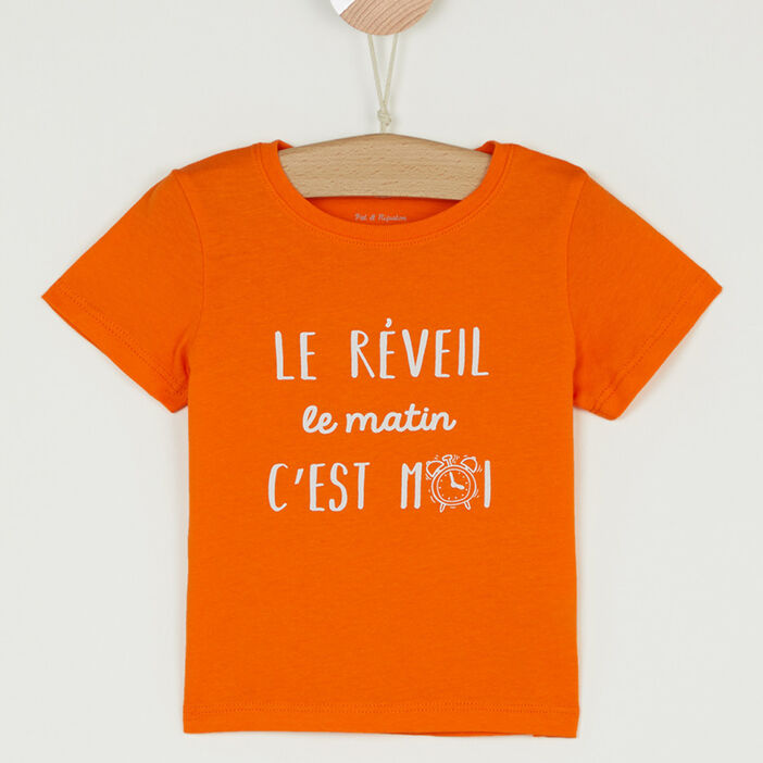 T-shirt col rond message devant garçon orange