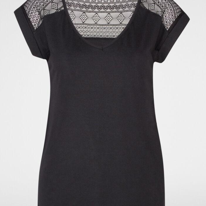T-shirt bimatière manches courtes femme noir