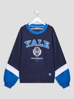 T shirt manches longues Yale bleu marine fille