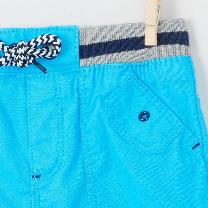 Bermuda coton à taille élastiquée bébé garçon bleu turquoise