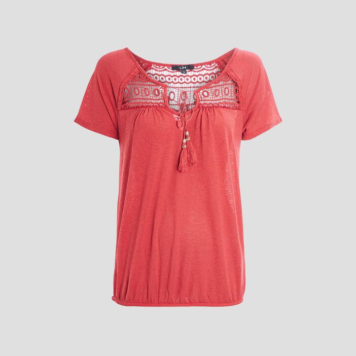 T-shirt manches courtes femme rose framboise