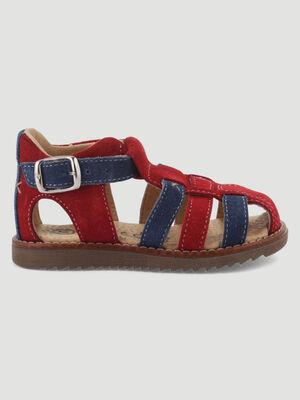 Sandales fermees en cuir bicolore rouge bebeg