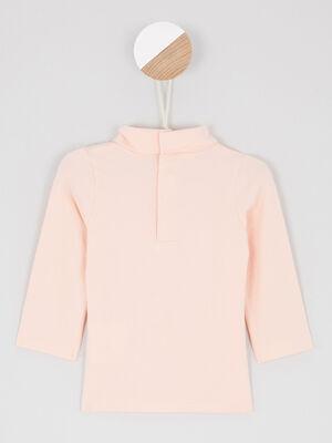 T shirt col roule uni rose clair fille