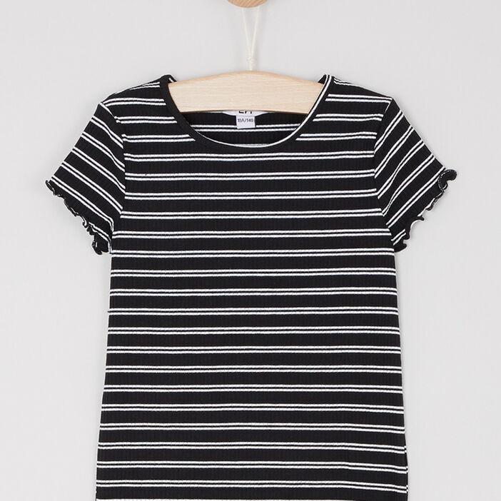 T-shirt rayé finitions volantées fille noir