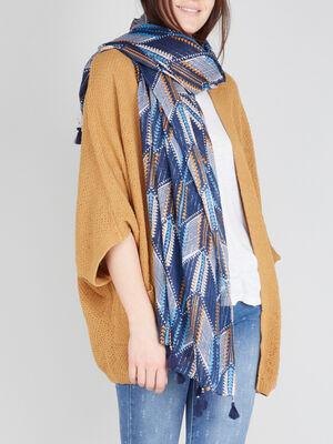 Foulard motifs ethniques a pompons multicolore femme