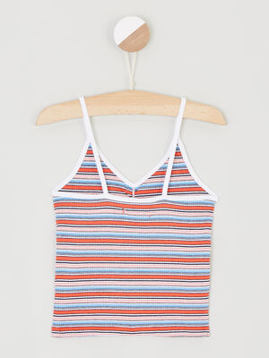 Crop Top a rayures rouge fille