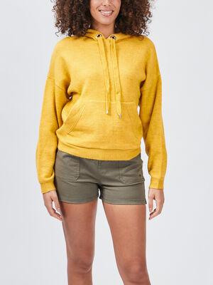 Pull a capuche jaune femme