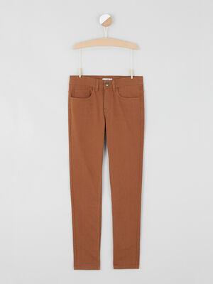 Pantalon slim coton melange marron cognac garcon