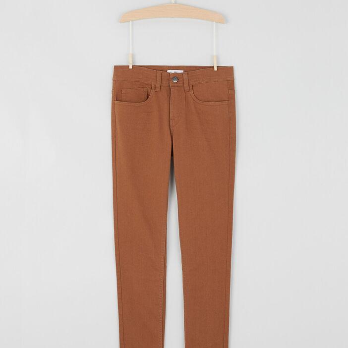 Pantalon slim coton mélangé garçon marron cognac