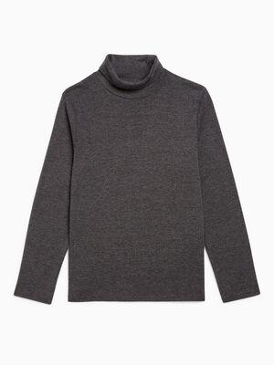T shirt uni manches longues gris fonce garcon