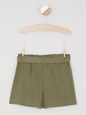 Bermuda uni ceinture vert kaki fille