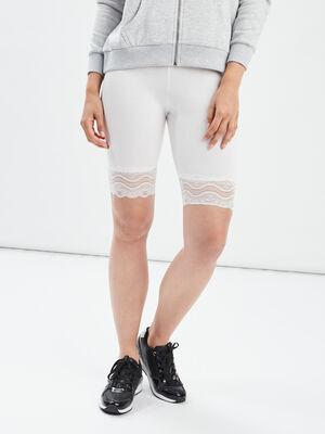 Leggings corsaire a dentelle blanc femme
