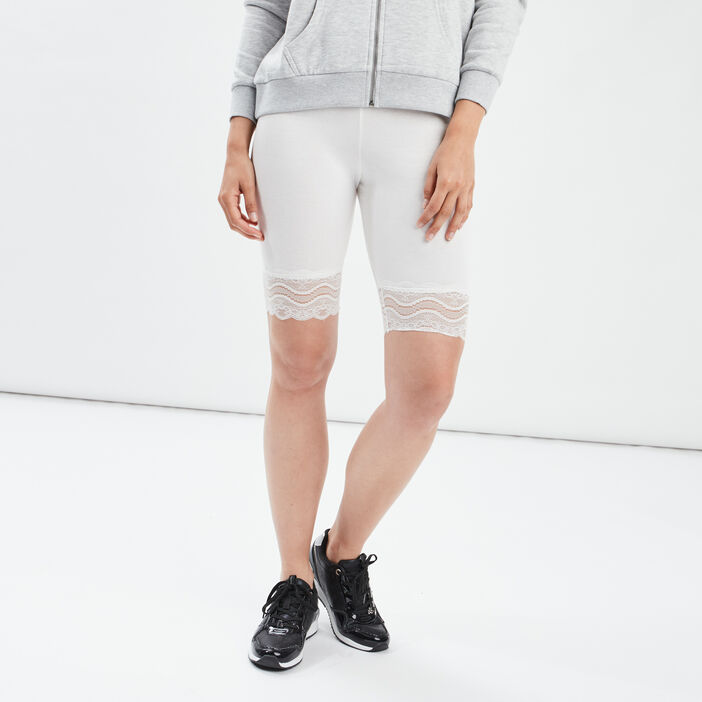 Leggings corsaire à dentelle femme blanc