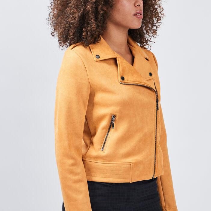 Veste droite effet suédine femme jaune moutarde