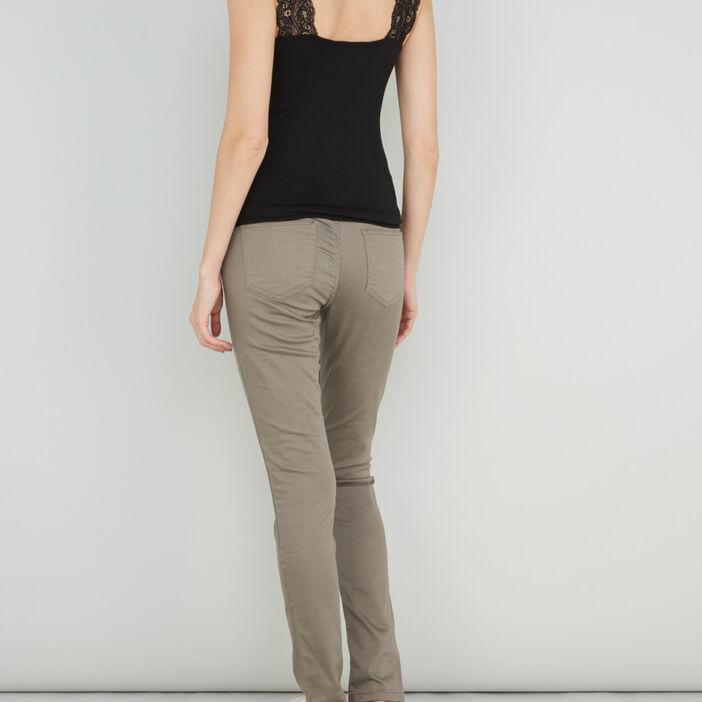 Pantalon skinny uni femme vert kaki