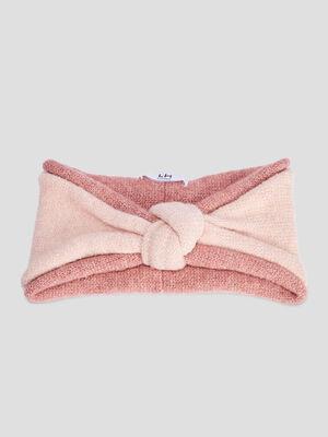 Bandeau tricote rose clair femme