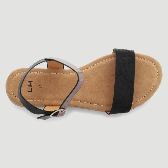 Sandales bicolores femme noir