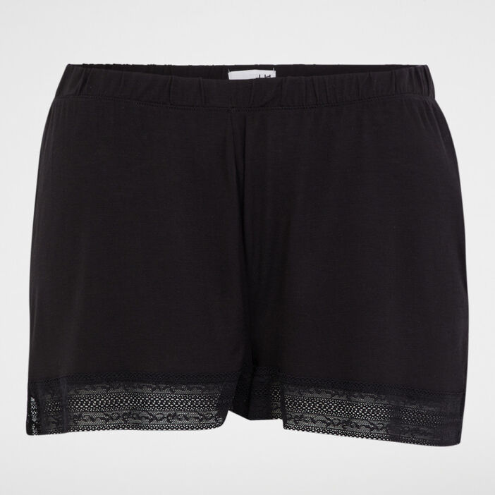 Short de pyjama avec dentelle femme noir