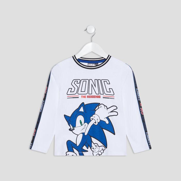 T-shirt manches longues Sonic garçon blanc