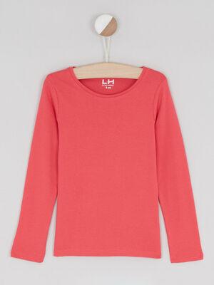 T shirt uni en coton rose framboise fille