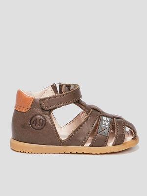 Sandales en cuir vert kaki mixte