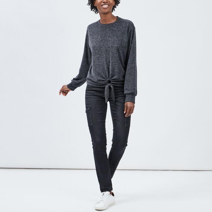 T-shirt manches longues femme gris foncé
