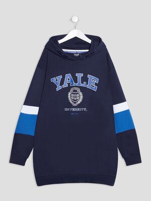 Robe ample a capuche Yale bleu marine fille