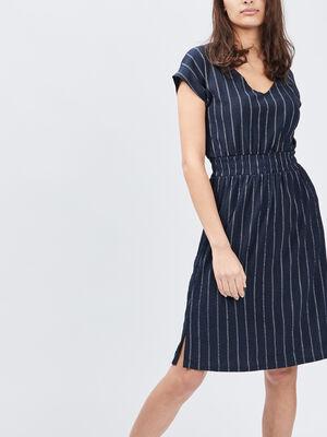Robe midi droite bleu marine femme