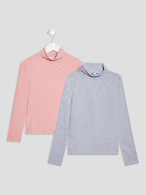Lot 2 t shirts manches longues rose clair fille