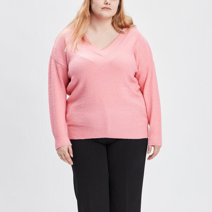 Pull avec col en V femme grande taille rose