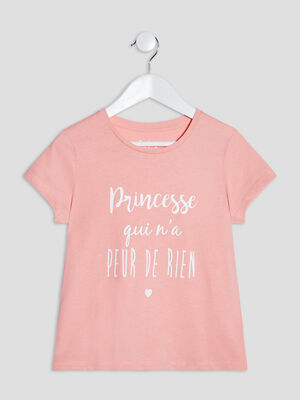 T shirt manches courtes orange corail fille