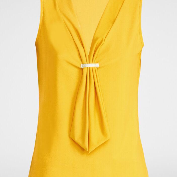 Débardeur avec décolleté effet cravatte femme jaune