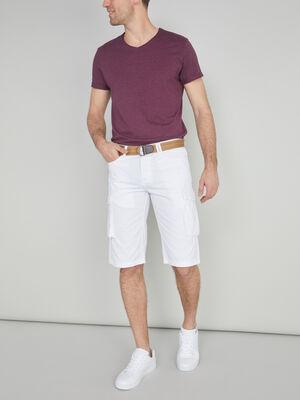 Bermuda battle coton avec ceinture blanc homme