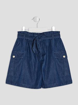 Short paperbag en jean bleu fille
