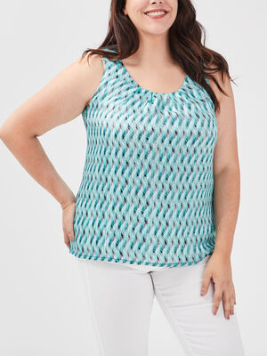 Blouse grande taille bleu turquoise femme