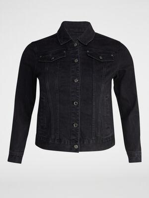 Blouson en jean grande taille noir femmegt