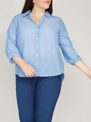 Chemise ample unie en coton bleu femmegt