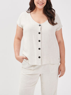Chemise grande taille beige femme