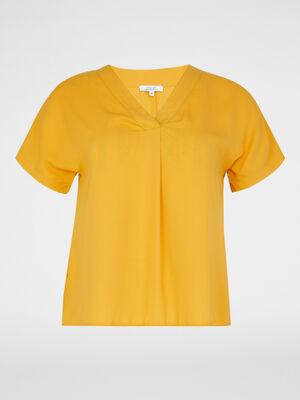 Chemise manches courtes jaune moutarde femmegt