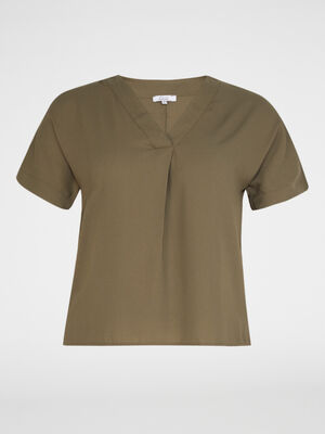 Chemise manches courtes vert kaki femmegt
