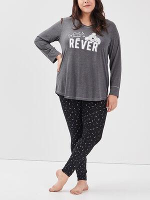 Ensemble pyjama grande taille gris fonce femmegt