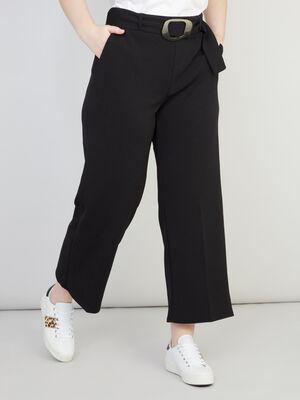 Pantalon large en jersey uni noir femmegt