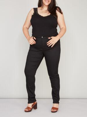 Pantalon slim grande taille noir femmegt
