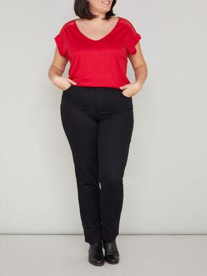Pantalon uni grande taille noir femmegt