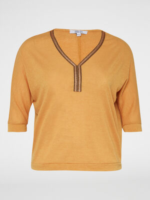 Pull ample col fantaisie irise jaune moutarde femmegt
