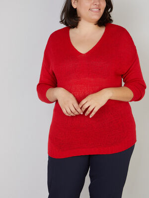 Pull manches chauve souris grande taille rouge femmegt