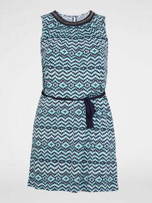 Robe droite imprimee avec ceinture bleu turquoise femmegt