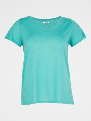T shirt grande taille bleu turquoise femme
